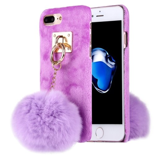 For iPhone 7 Plus Plush Cloth Cover PC Purple Case & Furry Ball Chain Pendant