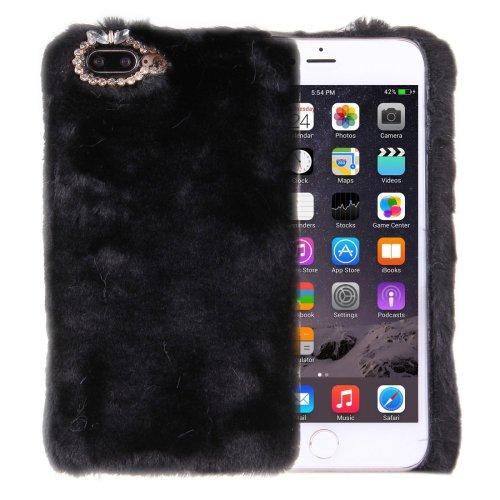 For iPhone 7 Plus Genuine Rabbit Hair Diamond incrusted Black PC Case