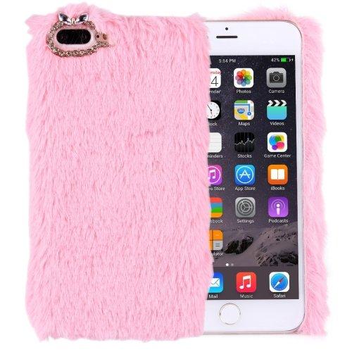 For iPhone 7 Plus Genuine Rabbit Hair Diamond incrusted Pink PC Case