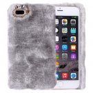 For iPhone 7 Plus Genuine Rabbit Hair Diamond incrusted Grey PC Case