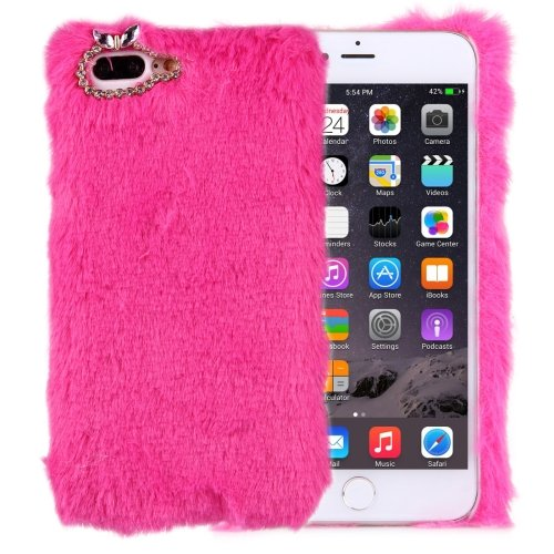 For iPhone 7 Plus Genuine Rabbit Hair Diamond incrusted Magenta PC Case