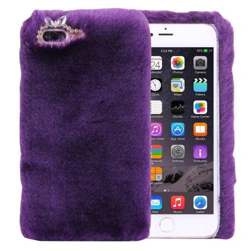 For iPhone 7 Plus Genuine Rabbit Hair Diamond incrusted Purple PC Case