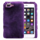 For iPhone 7 Plus Genuine Rabbit Hair Diamond incrusted Purple PC Case