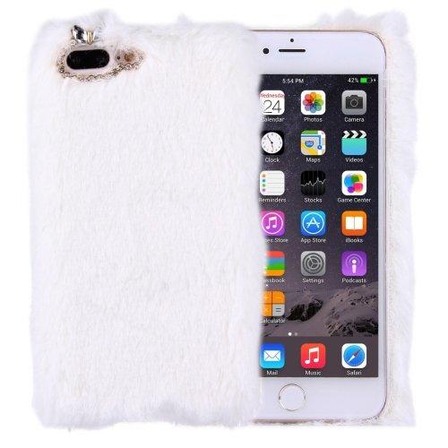 For iPhone 7 Plus Genuine Rabbit Hair Diamond incrusted White PC Case