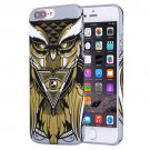 For iPhone 7 Plus Water Decals Cartoon Animal Owl Pattern PC Case