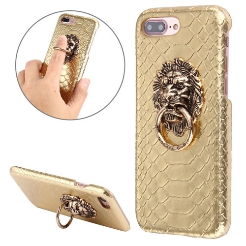 For iPhone 7 Plus Snakeskin Paste Skin PC Gold Case with Lion Head Holder