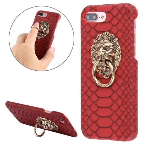 For iPhone 7 Plus Snakeskin Paste Skin PC Red Case with Lion Head Holder