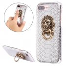 For iPhone 7 Plus Snakeskin Paste Skin PC Silver Case with Lion Head Holder