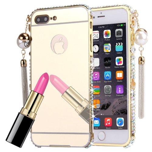 For iPhone 7 Plus Gold Pearl Chain Pendant Diamond Electroplating Mirror Case