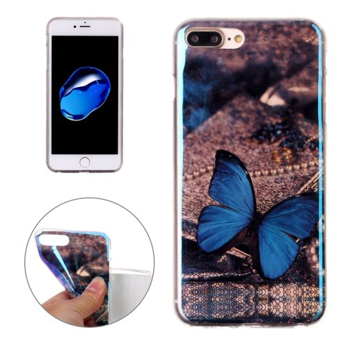 For iPhone 7 Plus Magic Butterfly Pattern Blue-ray TPU Soft Back Cover Case