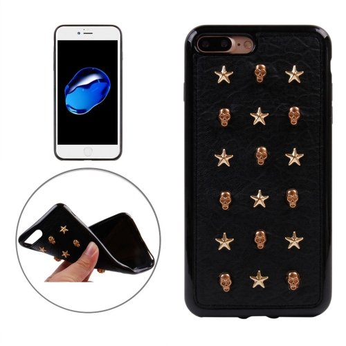 For iPhone 7 Plus Gloden Star Stull Rivet Style TPU + Metal Soft Case
