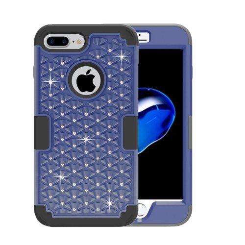 For iPhone 7 Plus Dark blue Diamond PC + Silicone Combination Case