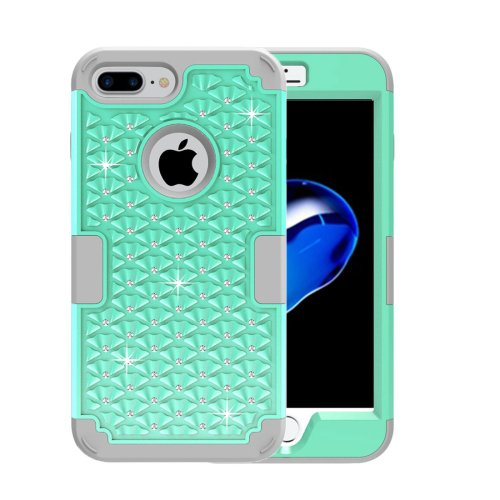 For iPhone 7 Plus Green Diamond PC + Silicone Combination Case