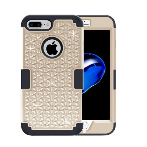 For iPhone 7 Plus Gold Diamond PC + Silicone Combination Case