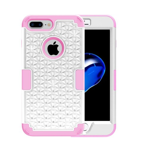 For iPhone 7 Plus White Diamond PC + Silicone Combination Case
