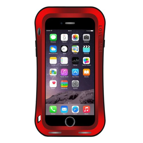 For iPhone 7 Plus Red LOVE MEI Dustproof Shockproof Anti-slip Metal Case