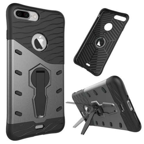 For iPhone 7 Plus Grey Tough Armor TPU+PC Rotating Spin Case with Holder