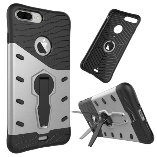For iPhone 7 Plus Silver Tough Armor TPU+PC Rotating Spin Case with Holder