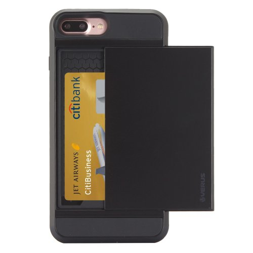 For iPhone 7 Plus Slide Style TPU + PC Combination Black Case with Card Slot