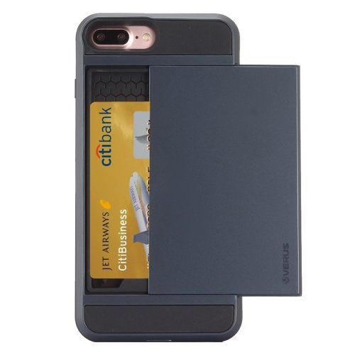 For iPhone 7 Plus Slide Style TPU + PC Combination Dark Blue Case with Card Slot