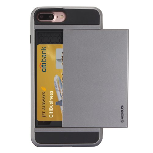 For iPhone 7 Plus Slide Style TPU + PC Combination Grey Case with Card Slot