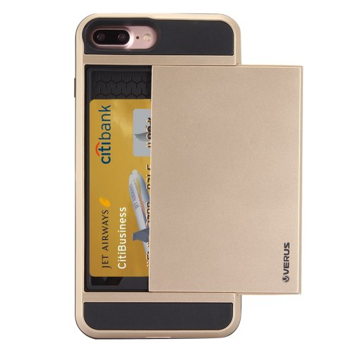 For iPhone 7 Plus Slide Style TPU + PC Combination Gold Case with Card Slot