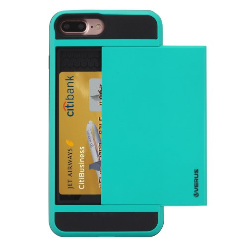 For iPhone 7 Plus Slide Style TPU + PC Combination Blue Case with Card Slot