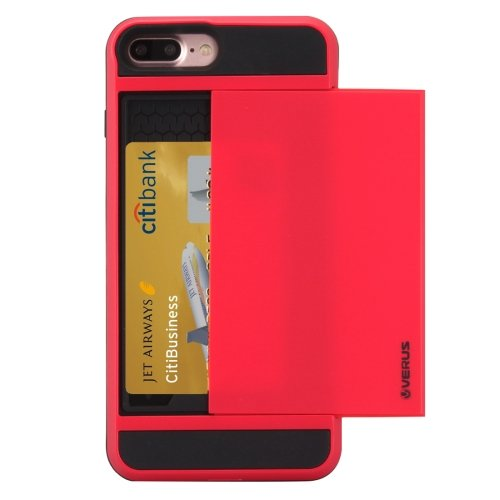 For iPhone 7 Plus Slide Style TPU + PC Combination Red Case with Card Slot