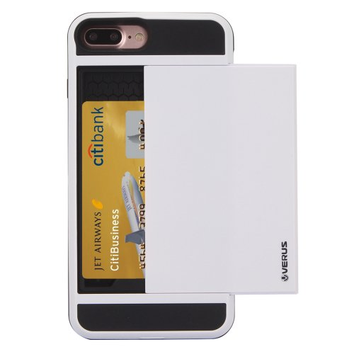 For iPhone 7 Plus Slide Style TPU + PC Combination White Case with Card Slot