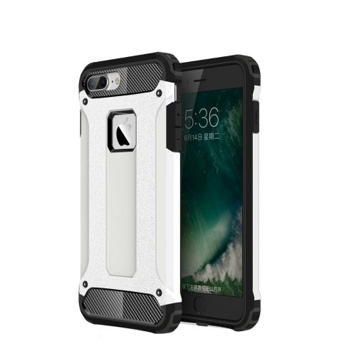 For iPhone 7 Plus White Tough Armor TPU + PC Combination Case