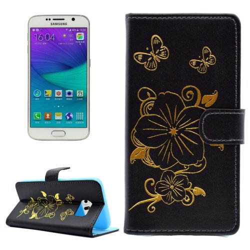 For Galaxy S6 Edge Black Butterfly PU Leather Case with Card Slots & Wallet
