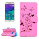 For Galaxy S6 Edge Pink Butterfly PU Leather Case with Card Slots & Wallet