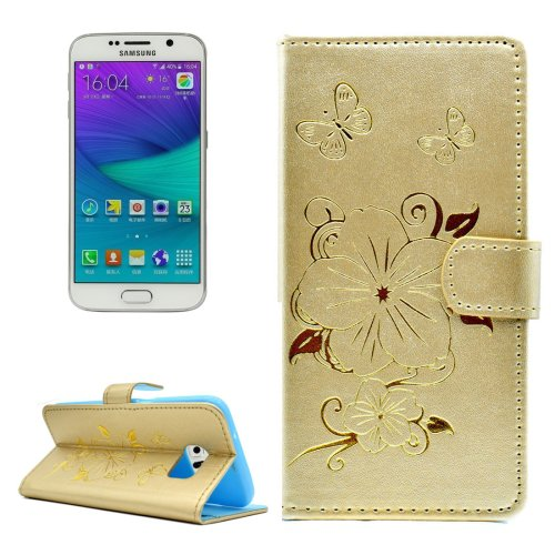 For Galaxy S6 Edge Gold Butterfly PU Leather Case with Card Slots & Wallet