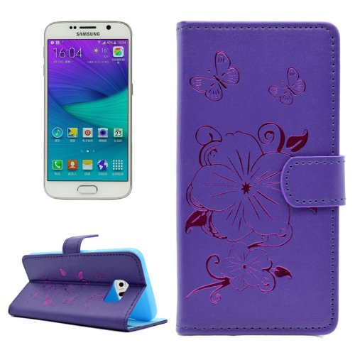 For Galaxy S6 Edge Purple Butterfly PU Leather Case with Card Slots & Wallet