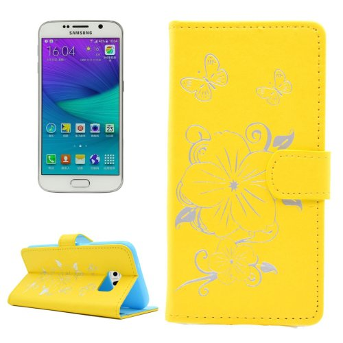 For Galaxy S6 Edge Yellow Butterfly PU Leather Case with Card Slots & Wallet