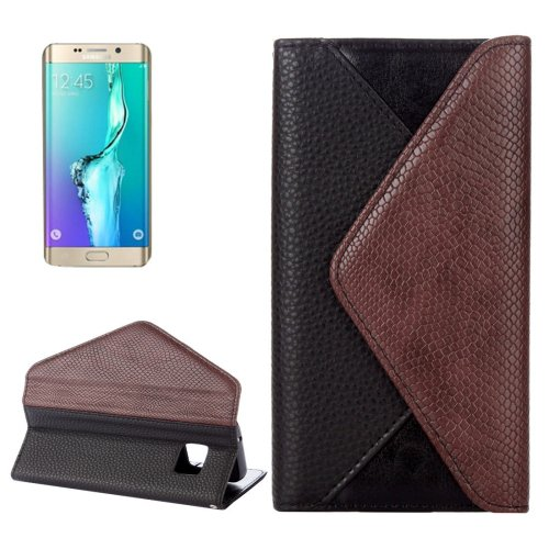 For Galaxy S6 Edge Black Envelope Leather Case with Card Slots & Wallet
