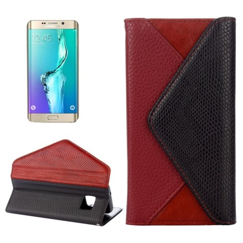For Galaxy S6 Edge Wine Red Envelope Leather Case with Card Slots & Wallet