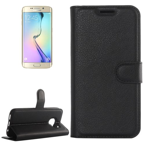For Galaxy S6 Edge Black Litchi Leather Case with Holder & Card Slots & Wallet