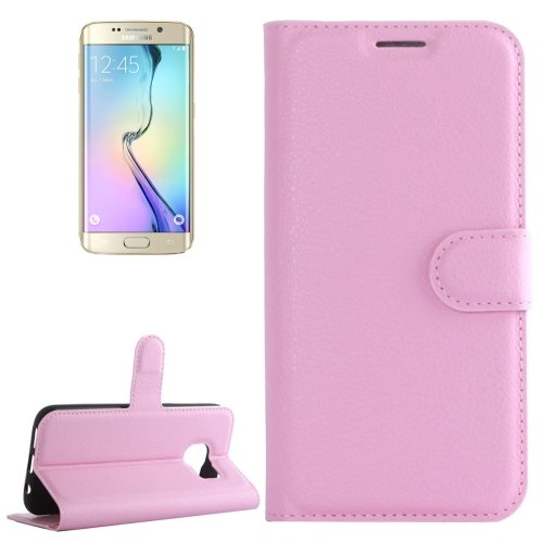 For Galaxy S6 Edge Pink Litchi Leather Case with Holder & Card Slots & Wallet