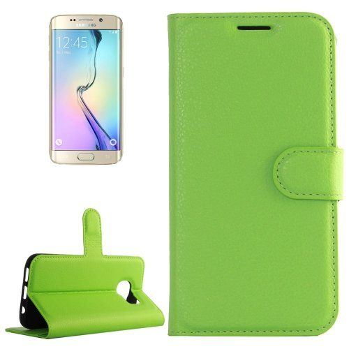 For Galaxy S6 Edge Green Litchi Leather Case with Holder & Card Slots & Wallet