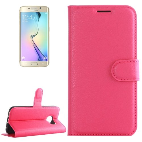 For Galaxy S6 Edge Magenta Litchi Leather Case with Holder & Card Slots & Wallet