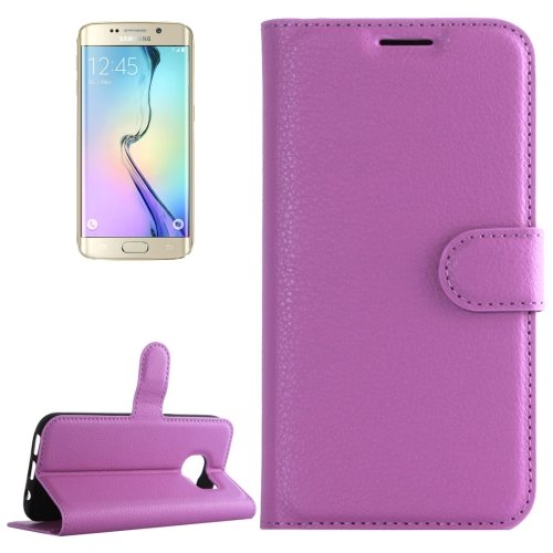 For Galaxy S6 Edge Purple Litchi Leather Case with Holder & Card Slots & Wallet