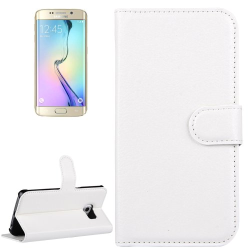 For Galaxy S6 Edge White Litchi Leather Case with Holder & Card Slots & Wallet