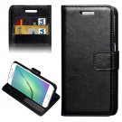 For Galaxy S6 Edge Black Crazy Horse Case with Holder, Card Slots & Wallet