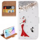 For Galaxy S6 Edge Diamond Pattern C Leather Case with Holder & Card Slots