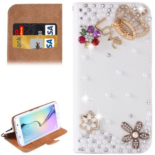 For Galaxy S6 Edge Diamond Pattern G Leather Case with Holder & Card Slots