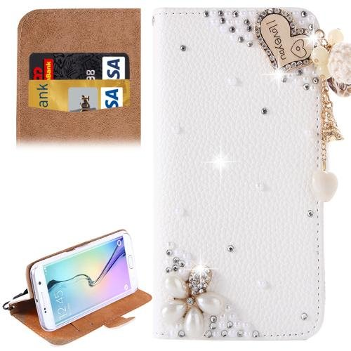For Galaxy S6 Edge Diamond Pattern P Leather Case with Holder & Card Slots