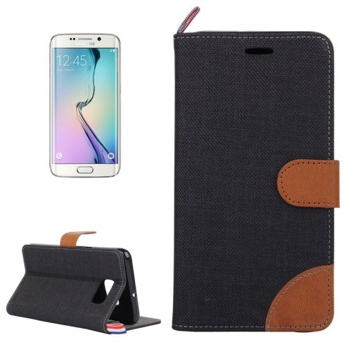 For Galaxy S6 Edge Black Denim Flip Leather Case with Holder & Card Slots