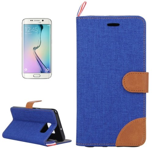 For Galaxy S6 Edge Dark Blue Denim Flip Leather Case with Holder & Card Slots
