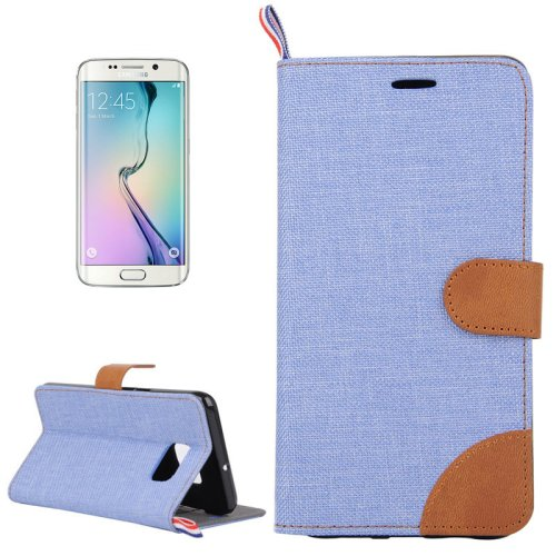 For Galaxy S6 Edge Blue Denim Flip Leather Case with Holder & Card Slots